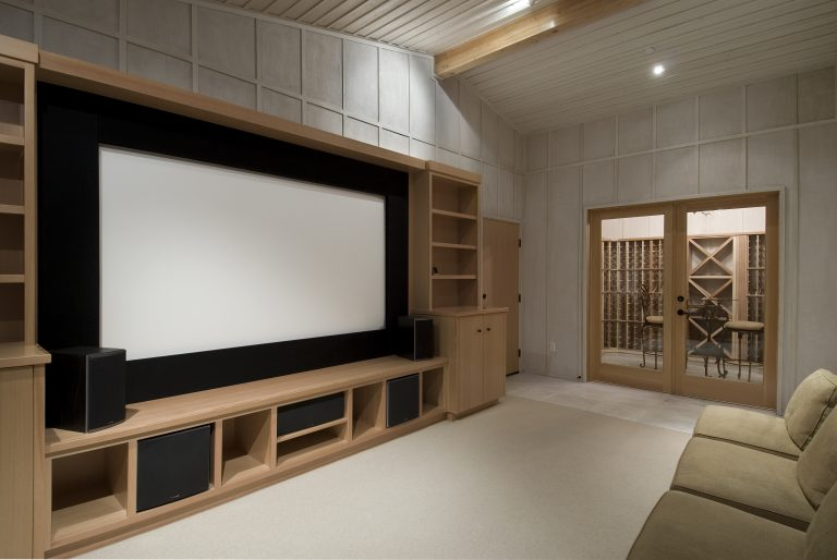home,theater,with,wine,tasting,room,,big,screen,,wood,cabinets,