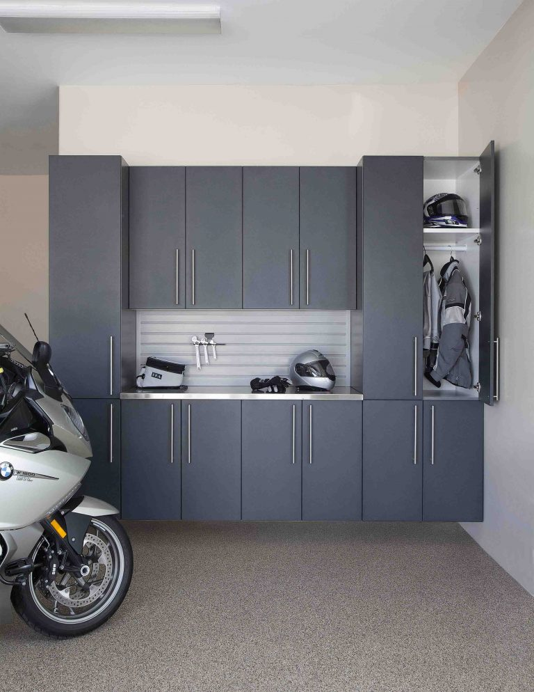 granite cabinet stainless counter with gray slatwall motorcycle straight door open feb 2013