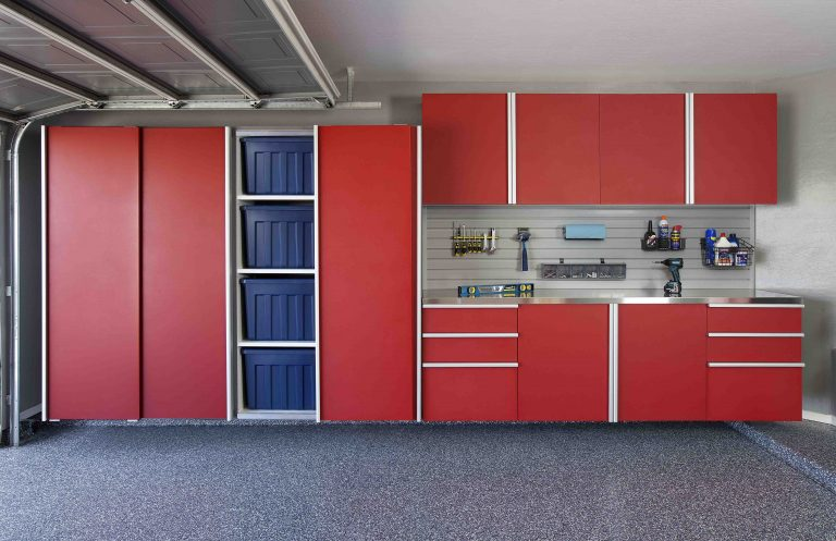 red sliding cabinets open stainless workbench grey slatwall aug 2013