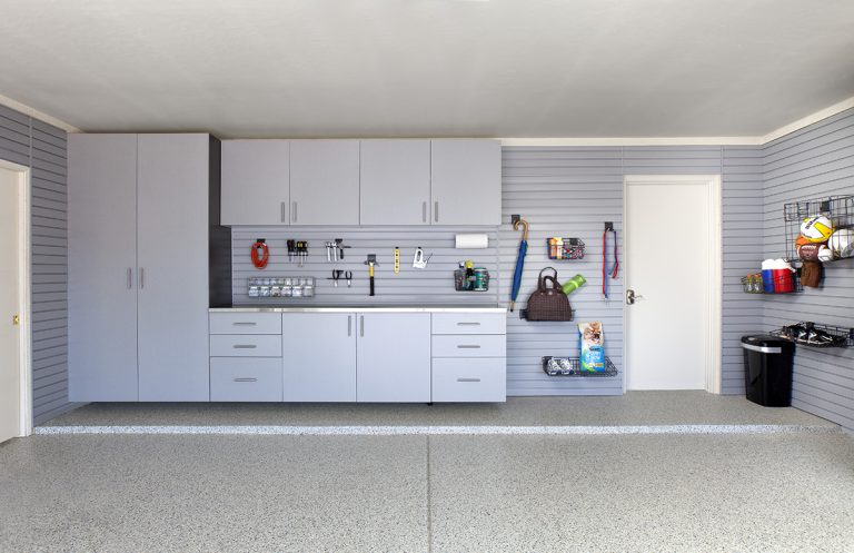 silver cabinets stainless counter grey slatwall barker 2012